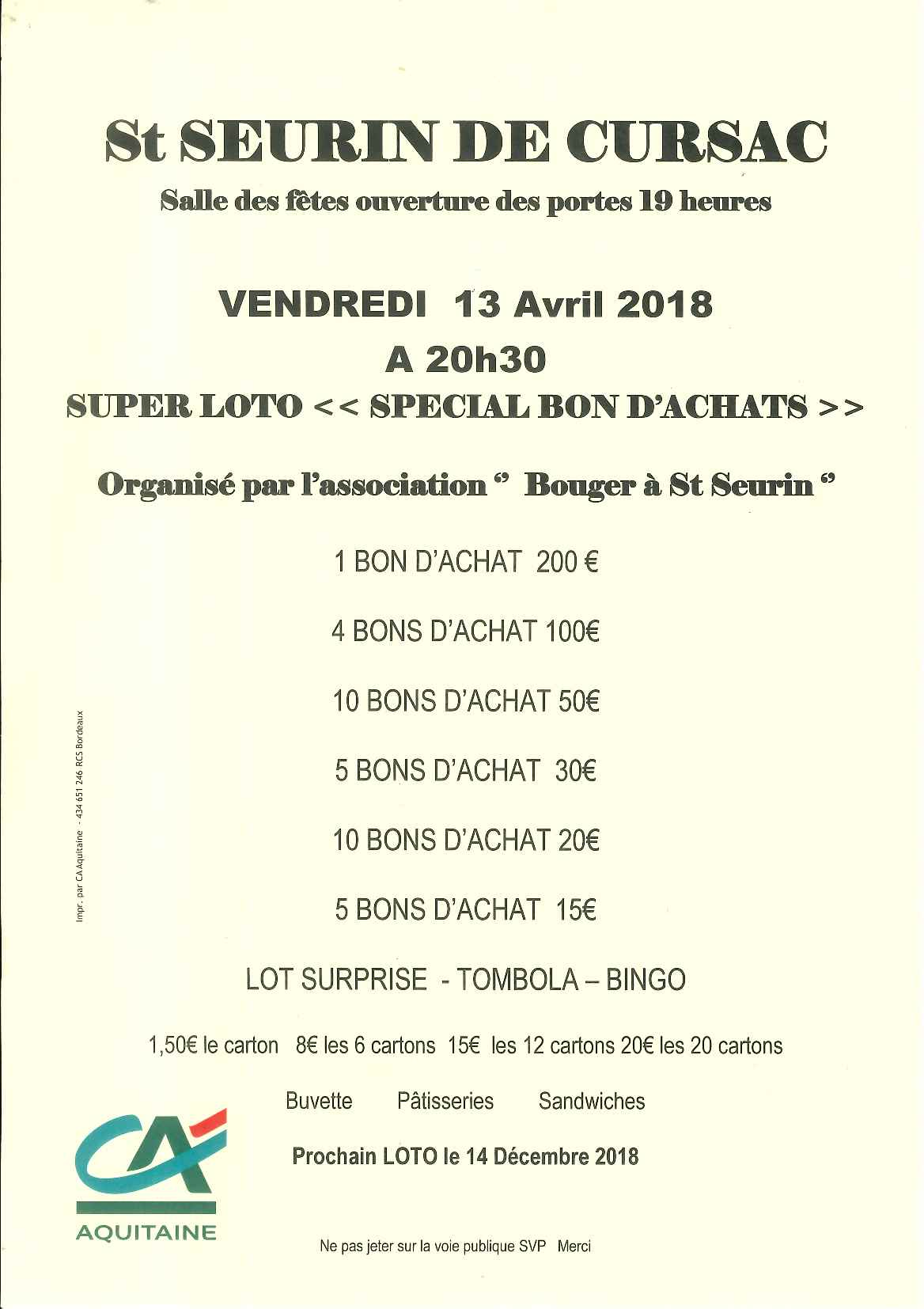 Association Bouger à St Seurin - Loto