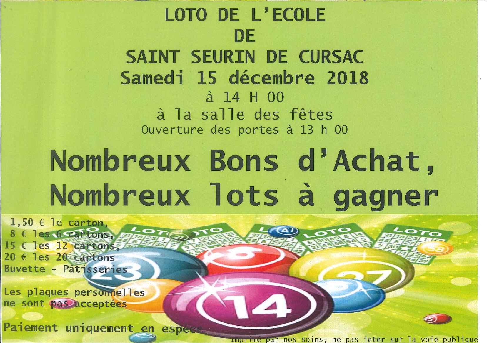 Loto de l\'école samedi 15 décembre 2018 à 14 h